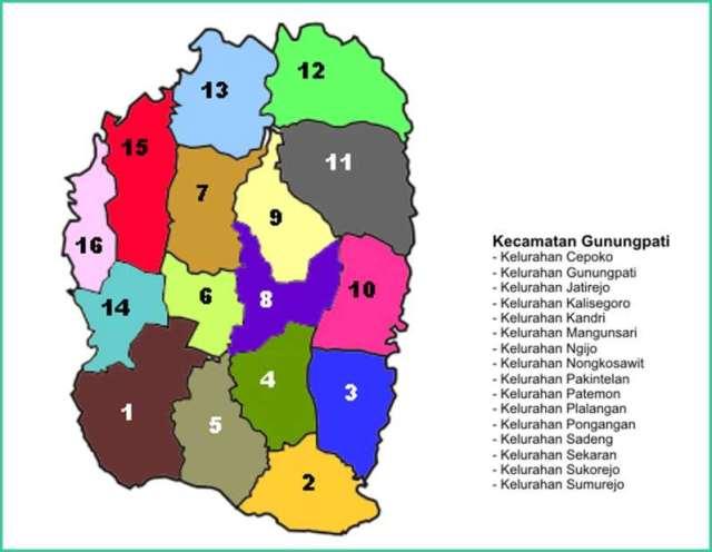 Peta Kecamatan Gunungpati Kota Semarang - Lokanesia