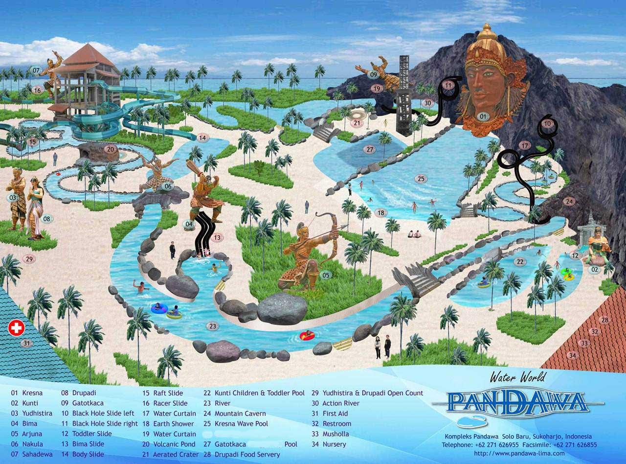 Denah Peta Pandawa Water World Solo Baru