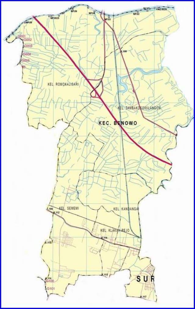 Peta Kecamatan Benowo Surabaya Barat
