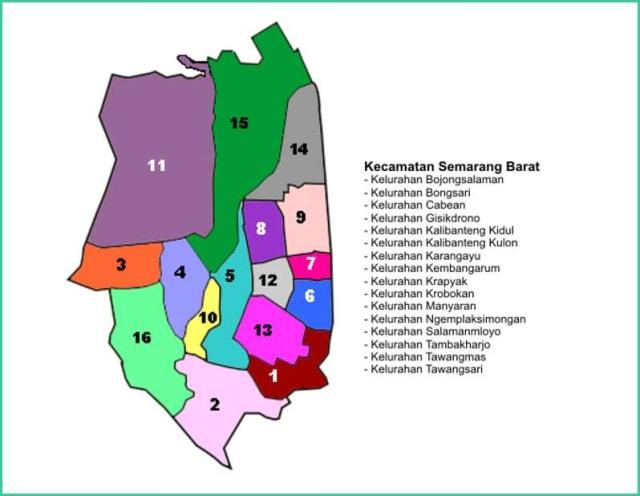 Peta Kecamatan Semarang Barat - Lokanesia