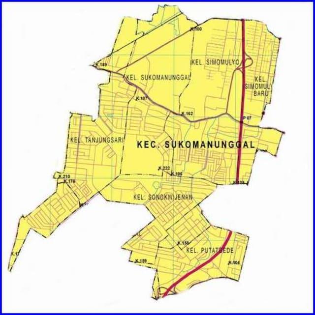 Peta Kecamatan Sukomanunggal Surabaya Barat