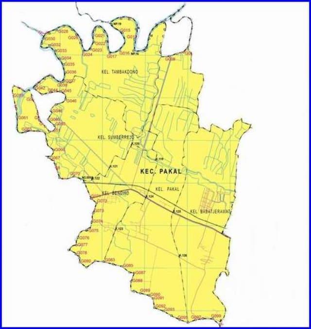 Peta Kecamatan Pakal Surabaya Barat