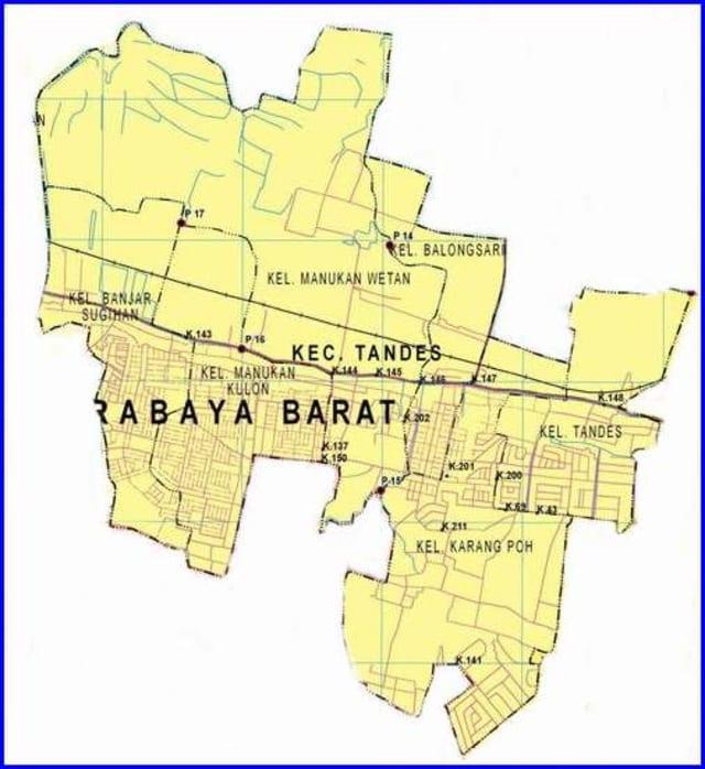 Peta Kecamatan Tandes Surabaya Barat