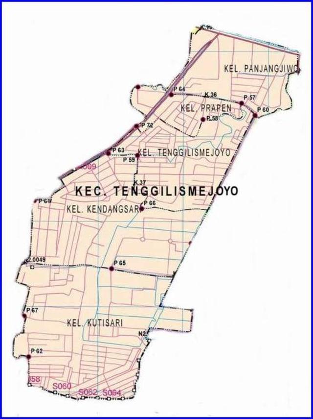 Peta Kecamatan Tenggilis Mejoyo Surabaya Timur