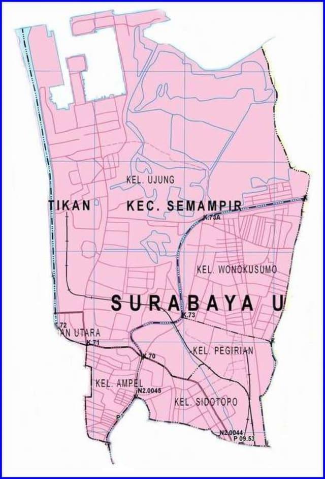 Peta Kecamatan Semampir Surabaya Utara