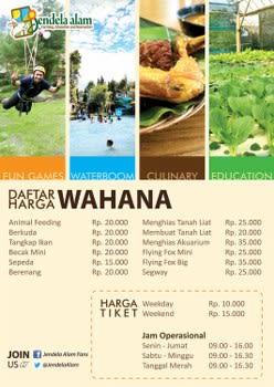 Daftar Harga Wahana di Jendela Alam Bandung
