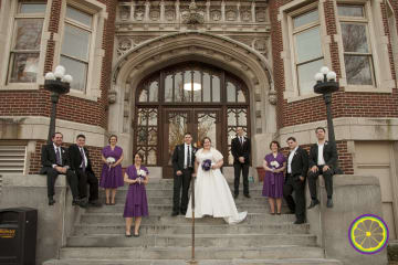 Wedding party outside Webster University in the winter