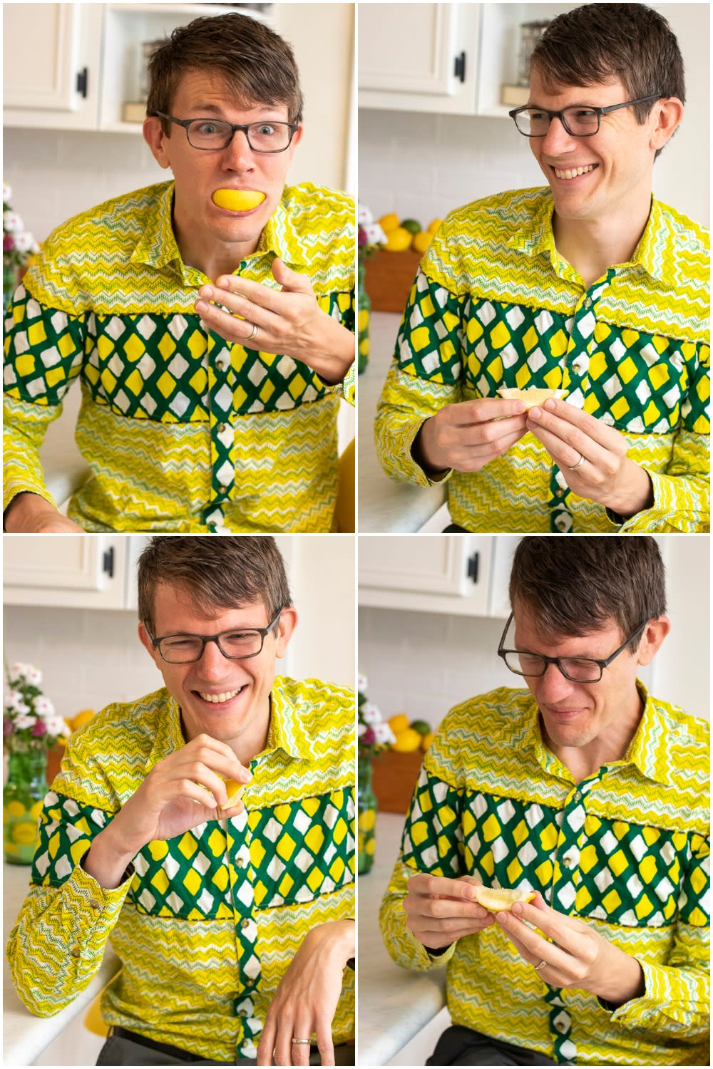 Photo collage of Brian eating lemons