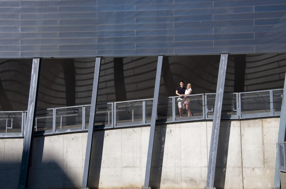 Engaged couple in downtown St. Louis