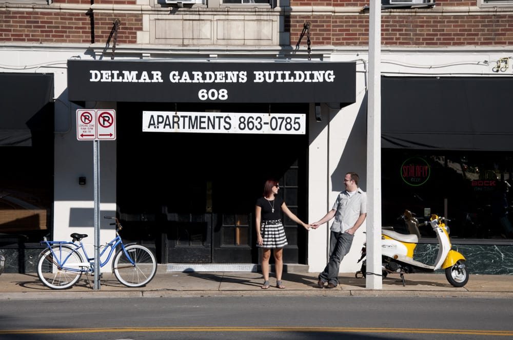 Photo of couple on Delmar Loop with bikes