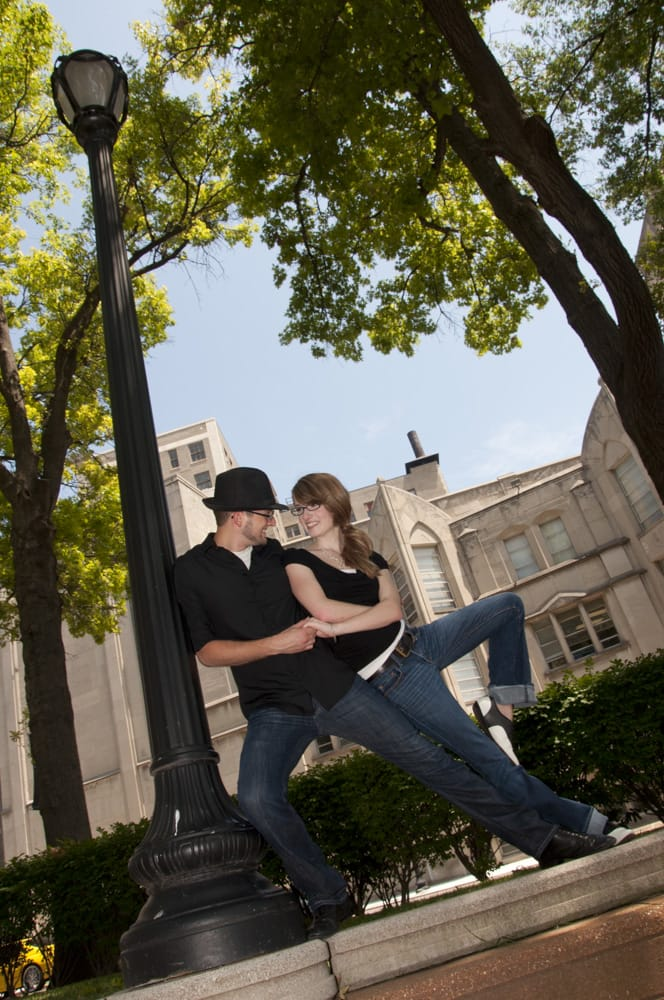 swing dancing couple from Lincoln, IL posing in downtown Saint Louis
