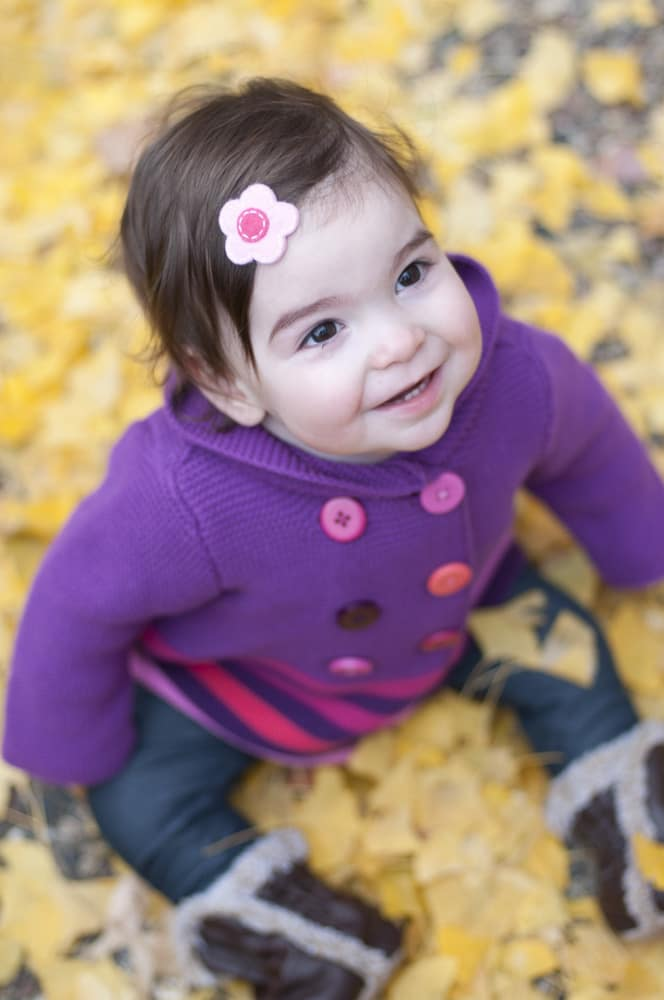Baby girl in purple sweater sitting in pile of yellow leaves in University City, MO