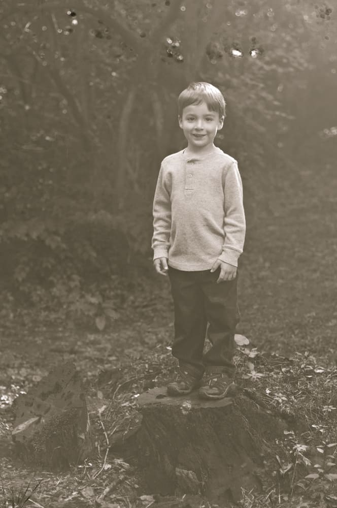 Young boy standing on a tree stump in his backyard for a picture in St. Louis County