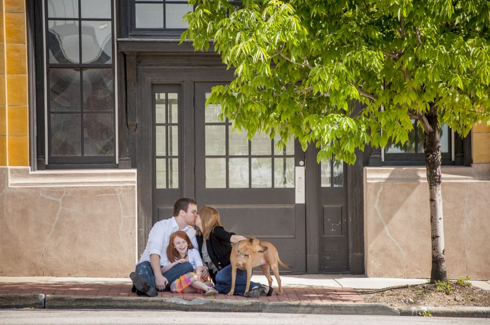 Family potrait with dog in downtown Saint Louis
