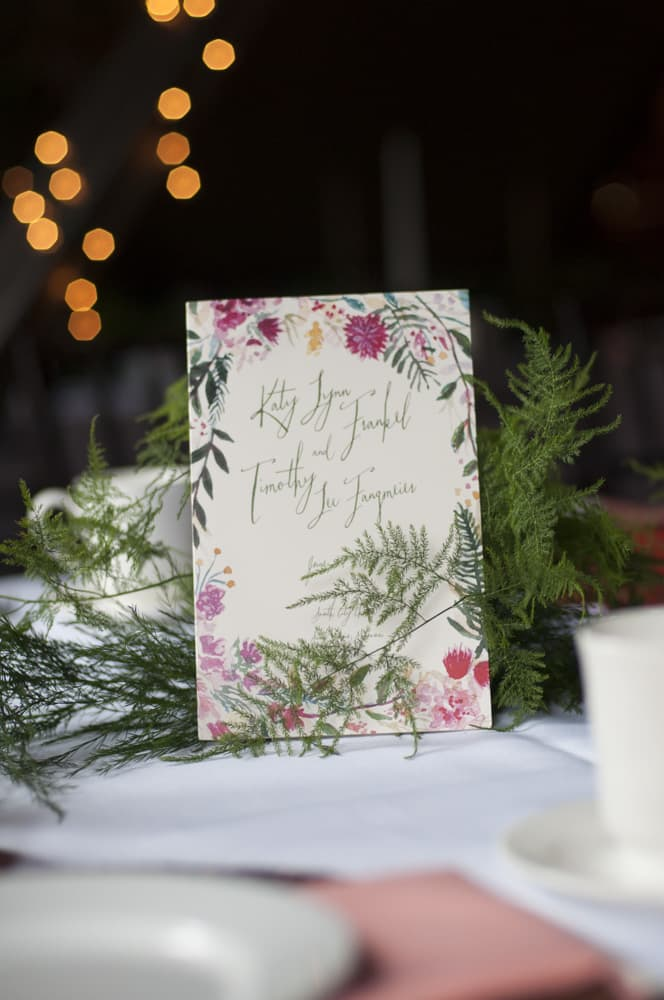 wedding stationary invitation at reception table in STL