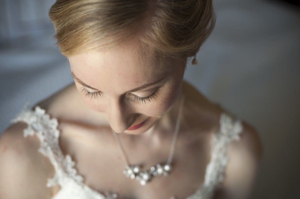 Bridal portrait of eyelashes and necklace