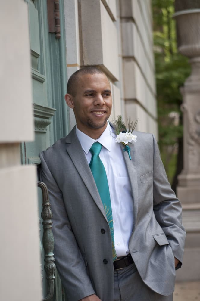 Groom smiling in portrait in University City MO