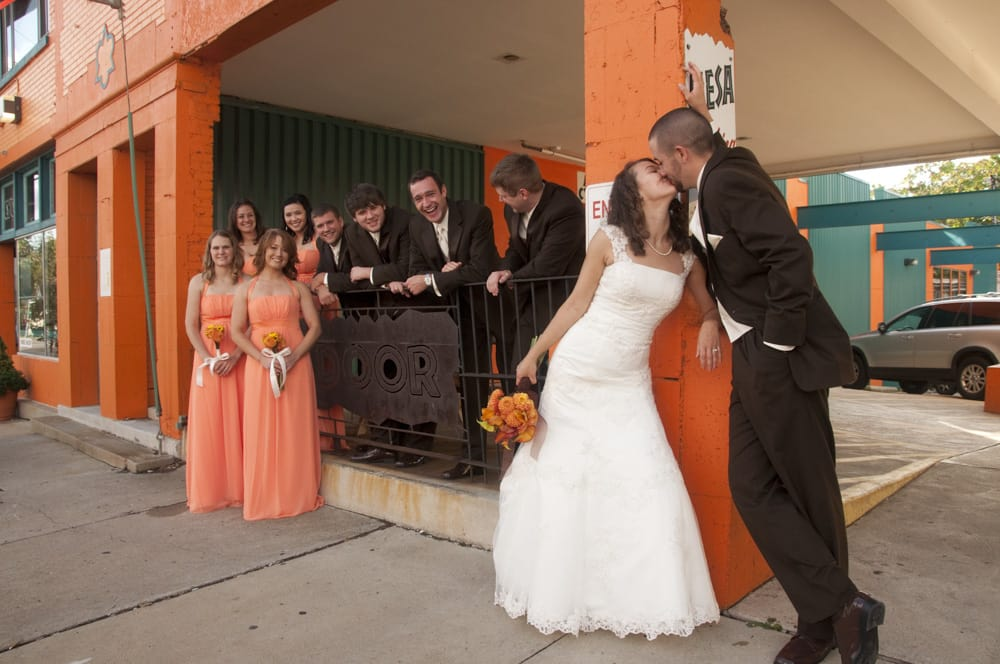 Orange and Brown wedding party in Clayton MO