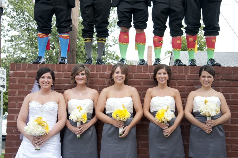 Superhero wedding party with socks with capes in Indiana