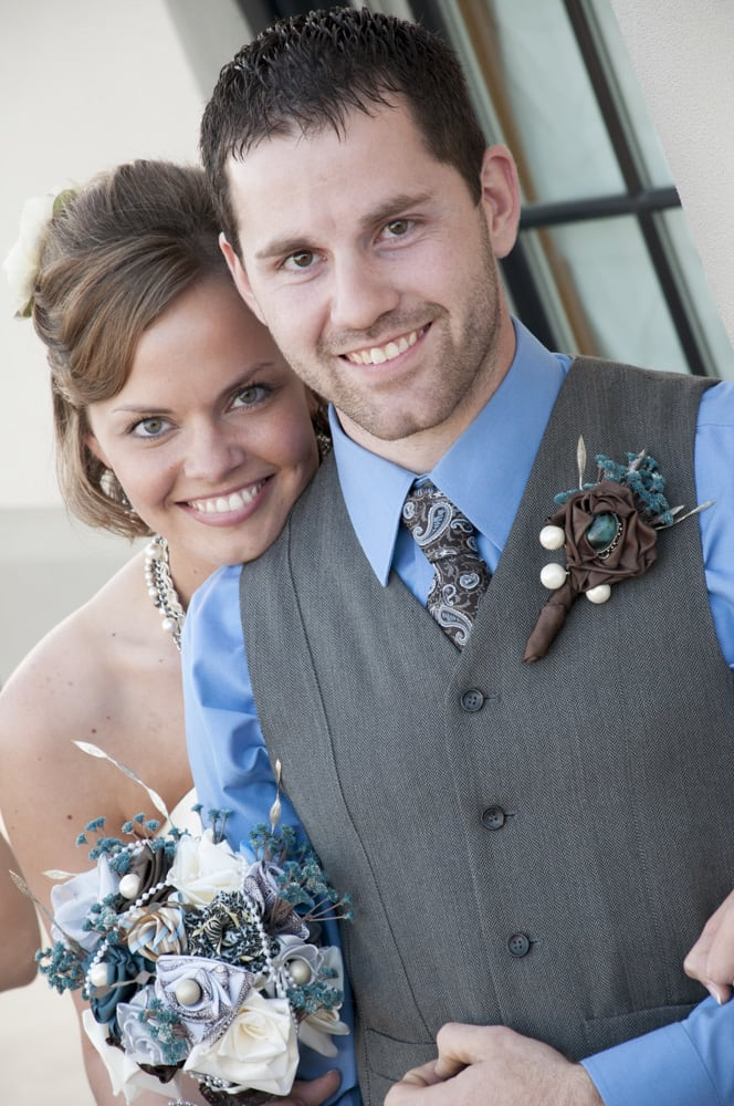Bride and Groom with handmade fabric DIY bouquet in New Town St. Charles MO