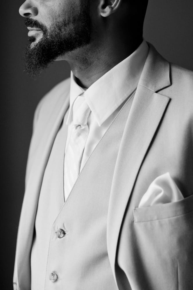 African American groom's suit details in Indianapolis