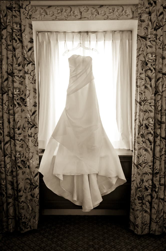 Wedding Dress in the window at Frontenac Hotel