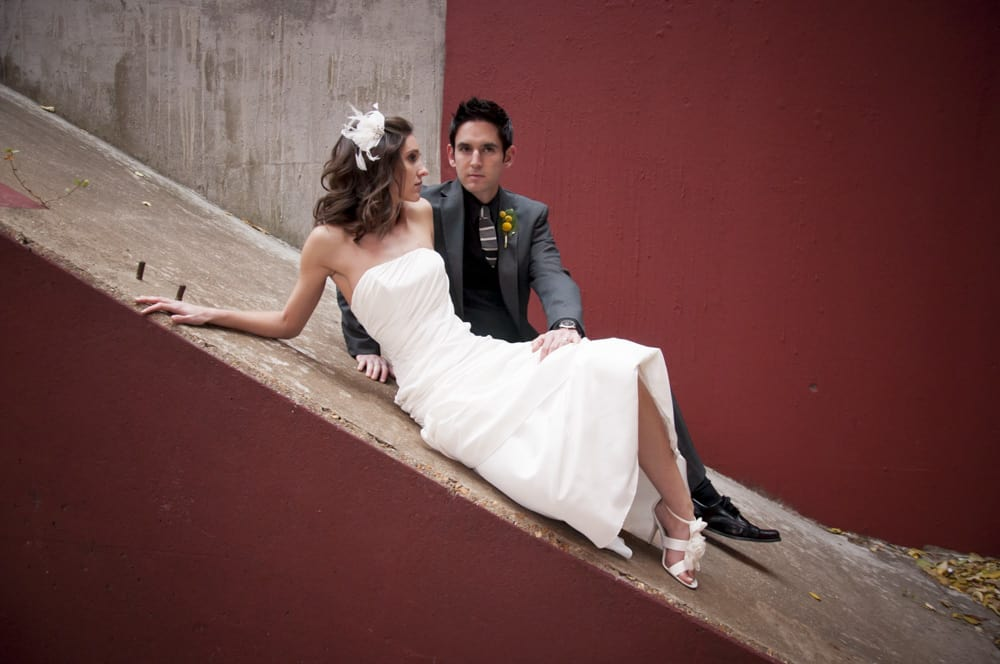high fashion wedding poses in midtown STL