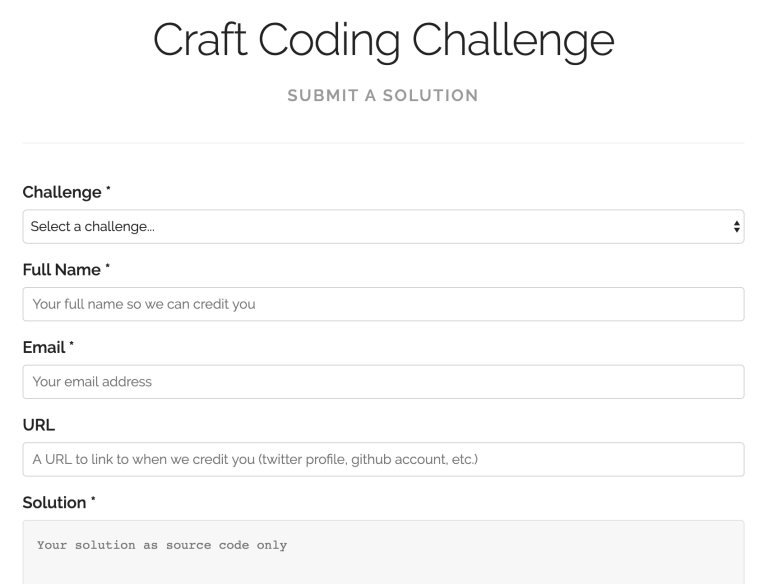 Craft coding challenge submit form