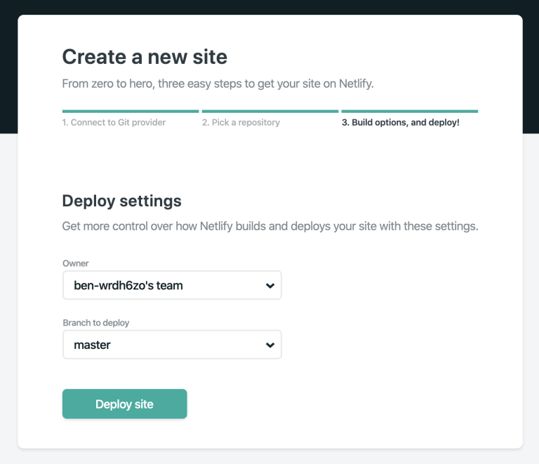 Netlify options and deploy
