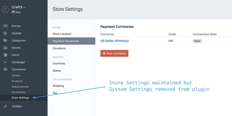 Commerce control panel with admin changes disabled