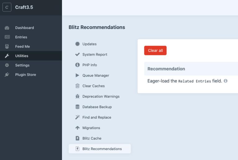 Blitz recommendations utility