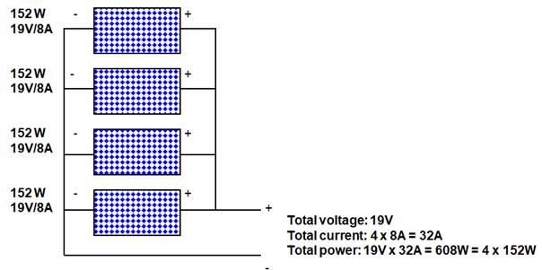 wiring similar solar panels in parallel