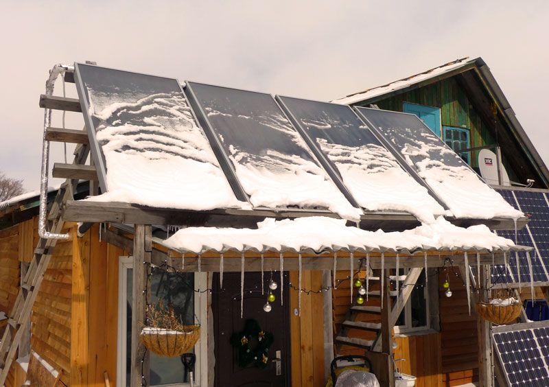 Плоские солнечные коллекторы под снегом