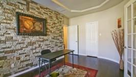 Beautiful Custom Built Home In Rockwall, Tx - Office With Stone Wall, French Doors And Hardwoods.