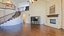 Beautiful Custom Built Home In Rockwall, Tx - Full Stone Faced Fireplace In The Second Living Room.