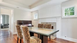 Serenity On The Sound - Formal Dining Room With Gas Fireplace.