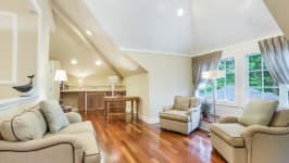 Serenity On The Sound - Game Room With Vaulted Ceilings And Hardwood Floors.