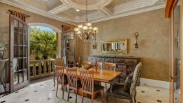 11507 Bistro Lane, Royal Oaks Country Club - With Sumptuous Elegance And European Flair, This Formal Dining Sets The Stage For Grand Entertaining, Emphasized By The Ornate Inlaid Coffered Ceilings, Travertine Floors And Arch Double French Doors That Flow To A Private Balcony With Stately Bal...