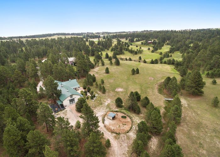 Aerial of Barn and Acreage