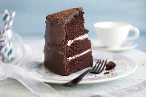 A perfect piece of birthday chocolate cake