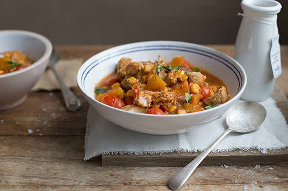 Moroccan chicken, pumpkin and corn stew