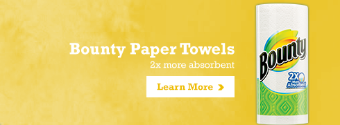 Bounty Paper Towels 2x more obsorbent Buy Now >