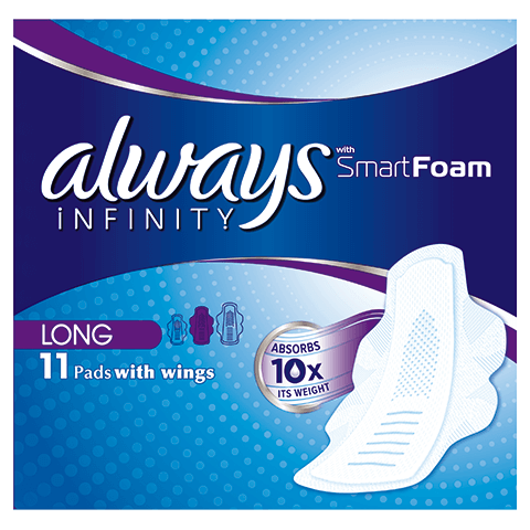Always infinity sanitary towels with wings long