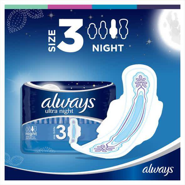 Always Ultra Night Sanitary Towels with Wings 40 Pads Super Absorbent Neutralises Odours and Ultra Thin Size 3