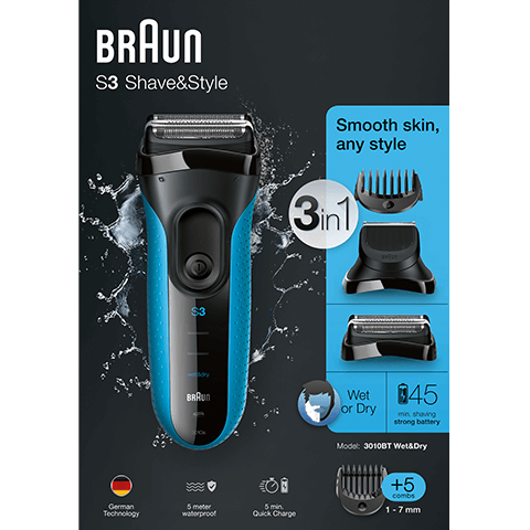 Braun S3 Shave & Style 3010BT Wet and