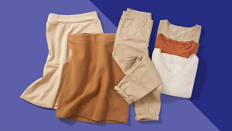 khaki skirts pants shirts on blue background