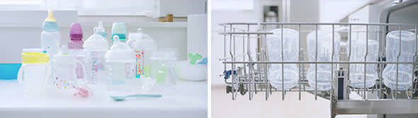 Placing baby bottles in the dishwasher