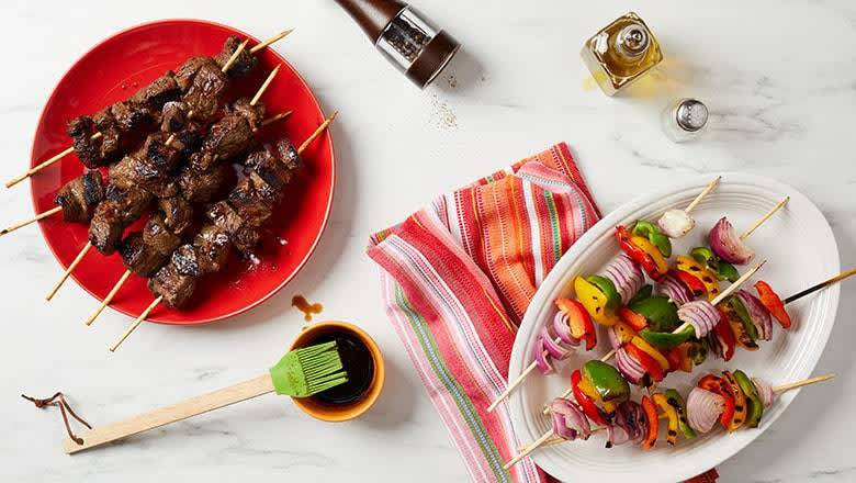 6 healthy freezer meals for busy weeknights - steak and veggie kabobs