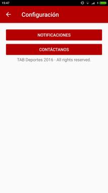 Configuración | Tab Deportes