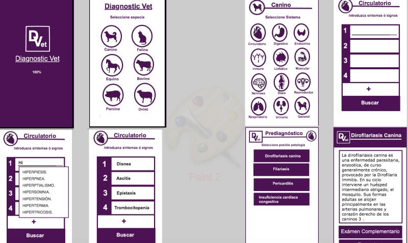 Funcionamiento de la aplicación de Diagnóstico Veterinario